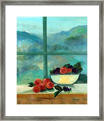 Interior With Window And Fruits Oil & Acrylic On Canvas Framed Print by Marisa Leon