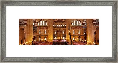 Interiors Of A Mosque, Selimiye Mosque Framed Print by Panoramic Images