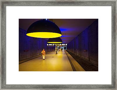 Interiors Of An Underground Station Framed Print