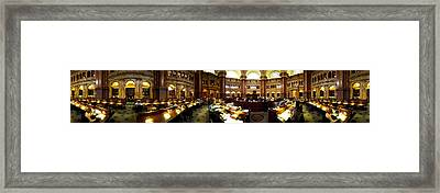 Interiors Of The Main Reading Room Framed Print