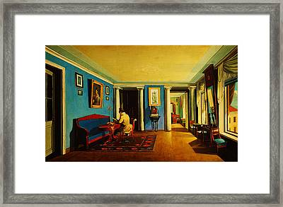 Interiors Reception Room With Columns On The Mezzanine Framed Print by MotionAge Designs