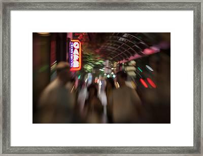 International Cafe Neon Sign And Street Scene At Night Santa Monica Ca Landscape Framed Print