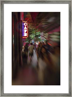 International Cafe Neon Sign And Street Scene At Night Santa Monica Ca Portrait Framed Print