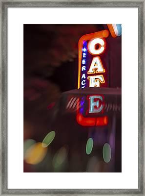 International Cafe Neon Sign At Night Santa Monica Ca Framed Print