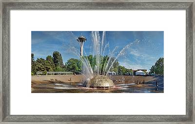 International Fountain With Space Framed Print by Panoramic Images