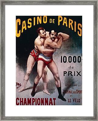 International Wrestling Championship Framed Print by Pal Jean de Paleologue