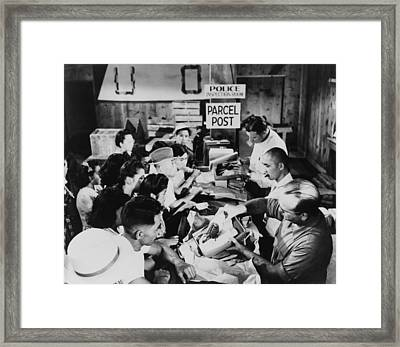 Interned Japanese-americans In Line Framed Print by Everett