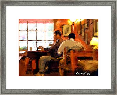 Framed Print featuring the painting Internet Coffee House by Ted Azriel