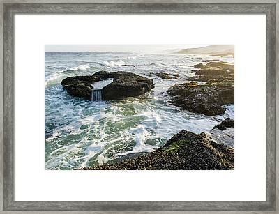 Intertidal Zone Impacted By Wave Action Framed Print by Peter Chadwick