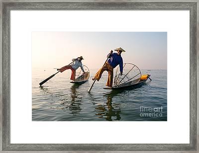 Intha Fishermen - Inle Lake - Myanmar Framed Print