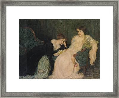 Intimacy Oil On Canvas Framed Print by Edmond-Francois Aman-Jean