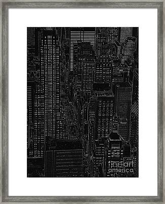 Into Nyc White On Black Framed Print by Meandering Photography
