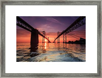 Into Sunrise - Bay Bridge Framed Print