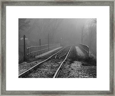 Into The Fog... Framed Print