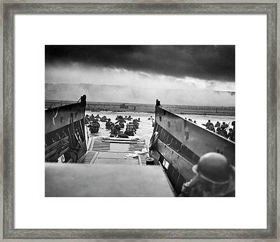 Into The Jaws Of Death Framed Print by Underwood Archives