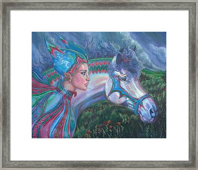 Framed Print featuring the painting Into The Storm by Suzanne Silvir