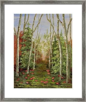 Framed Print featuring the painting Into The Woods Series-cedar by Vic  Mastis