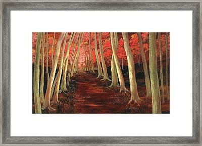Framed Print featuring the painting Into The Woods Series-orange by Vic  Mastis