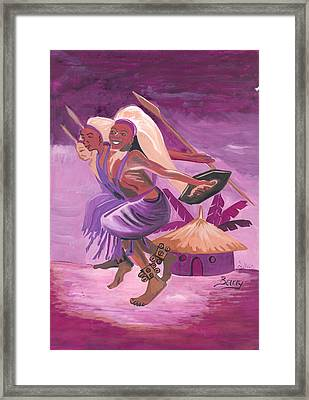Framed Print featuring the painting Intore Dance From Rwanda by Emmanuel Baliyanga