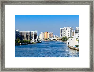 Intracoastal Waterway In Hollywood Florida Framed Print