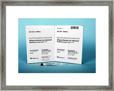 Intranasal Flumist Vaccine And Packaging Framed Print by Cdc