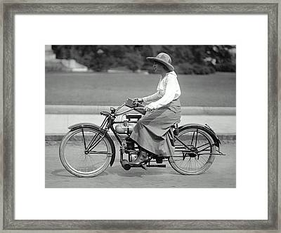 Intrepid Woman On Motorcycle C. 1917 Framed Print by Daniel Hagerman