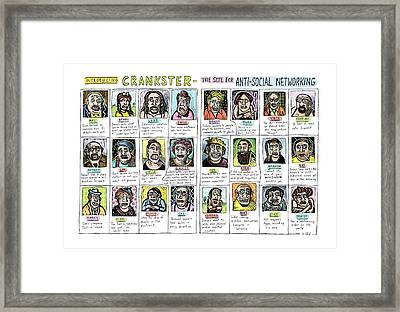 Introducing Crankster - The Site For Anti-social Framed Print
