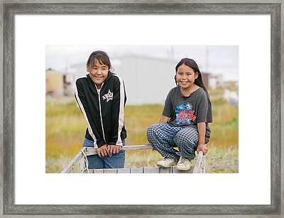 Inuit Children On Shishmaref Framed Print by Ashley Cooper