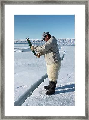 Inuit Hunter Line Fishing Framed Print
