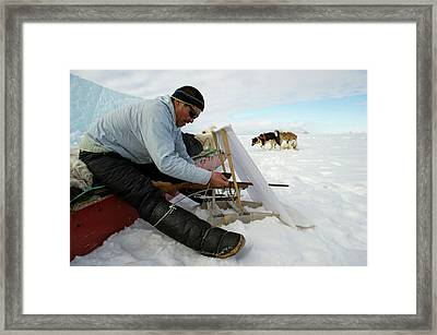 Inuit Hunter With Rifle And Hunting Blind Framed Print by Louise Murray