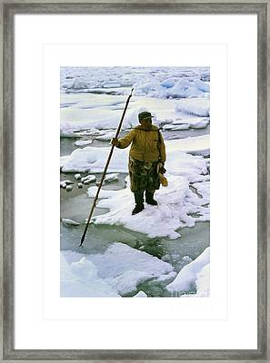 Framed Print featuring the photograph Inuit Seal Hunter Barrow Alaska July 1969 by California Views Mr Pat Hathaway Archives