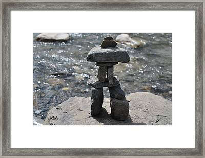 Inukshuk By The Water Framed Print