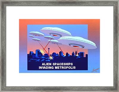 Invading Metropolis Poster Framed Print by Charles Fennen