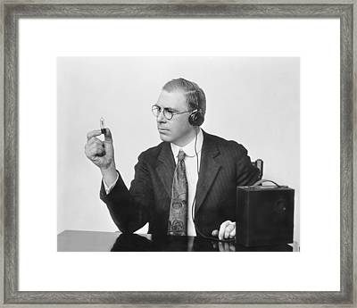 Inventor Earl C. Hanson Framed Print by Underwood Archives