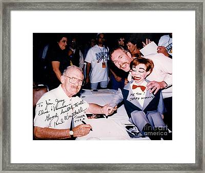 Inventor Of An Artificial Heart Pump And Ventriloquist Paul Winchell Dummy Jerry Mahoney And Myself Framed Print