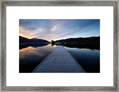 Framed Print featuring the photograph Invergluss Jetty A Winters Morning by Stephen Taylor