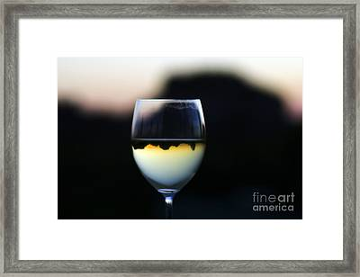 Framed Print featuring the photograph Inverted Landscape In Wine Glass by Ron Chilston