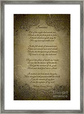 Invictus By William Ernest Henley Framed Print