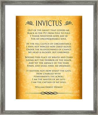 Invictus - Tribute To Nelson Mandela Framed Print by Ginny Gaura