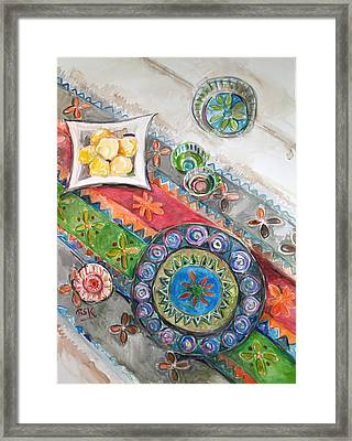 Framed Print featuring the painting Invitation 2 by Becky Kim