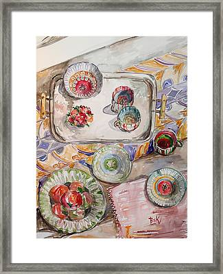 Framed Print featuring the painting Invitation1 by Becky Kim
