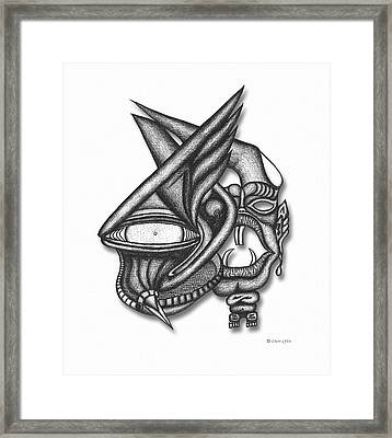 Framed Print featuring the drawing Ion Tiki by Carl Hunter