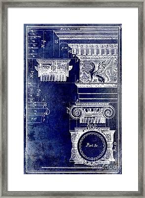 Ionic Capitol Blue Framed Print by Jon Neidert