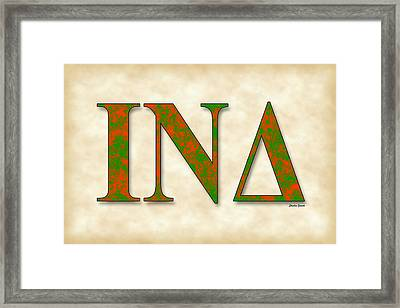 Iota Nu Delta - Parchment Framed Print