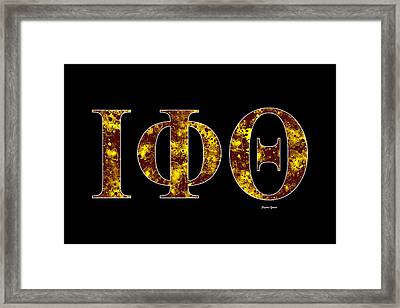 Framed Print featuring the digital art Iota Phi Theta - Black by Stephen Younts
