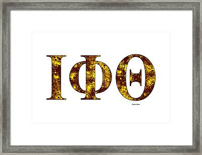 Framed Print featuring the digital art Iota Phi Theta - White by Stephen Younts