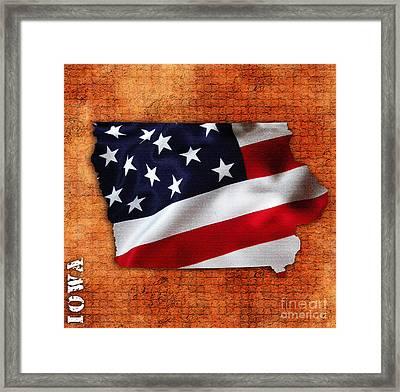 Iowa American Flag State Map Framed Print