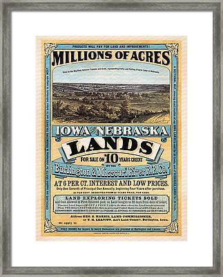 Iowa And Nebraska Lands - 1872 Framed Print by Mountain Dreams