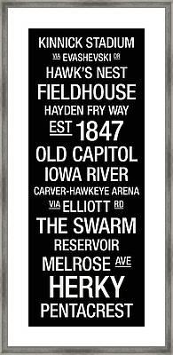 Iowa College Town Wall Art Framed Print