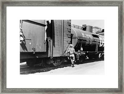 Iowa Freight Train, 1940 Framed Print by Granger